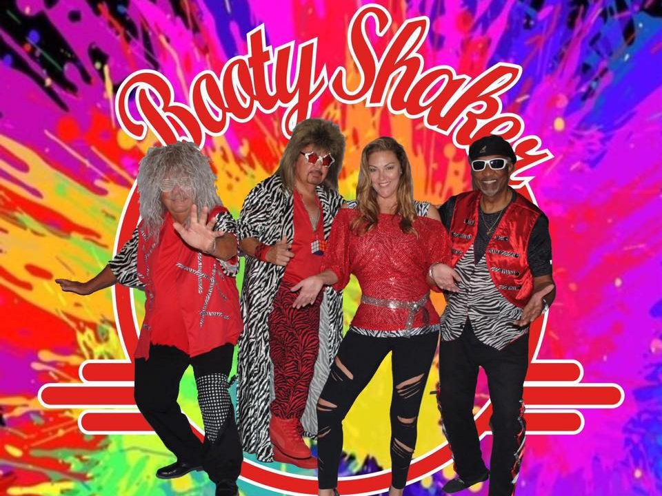 Four musicians in Booty Shaker band
