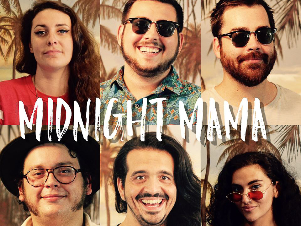 Six musicians with Midnight Mama band